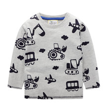 boys long sleeve t shirts for children 2017 autumn pure color t shirt cotton 1 15t kids clothing baby girls tops tees clothes Children T-shirt Boys Clothes Baby Boys Tops Tees with Excavator Appliques Kids Long Sleeve Sweatshirt Boys T shirts