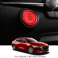 Silnik samochodowy przycisk start zamiennik osłony STOP przełącznik pokrętło multimedialne koło cekinowy klucz akcesoriów do Mazda 3 BP 2019-Present