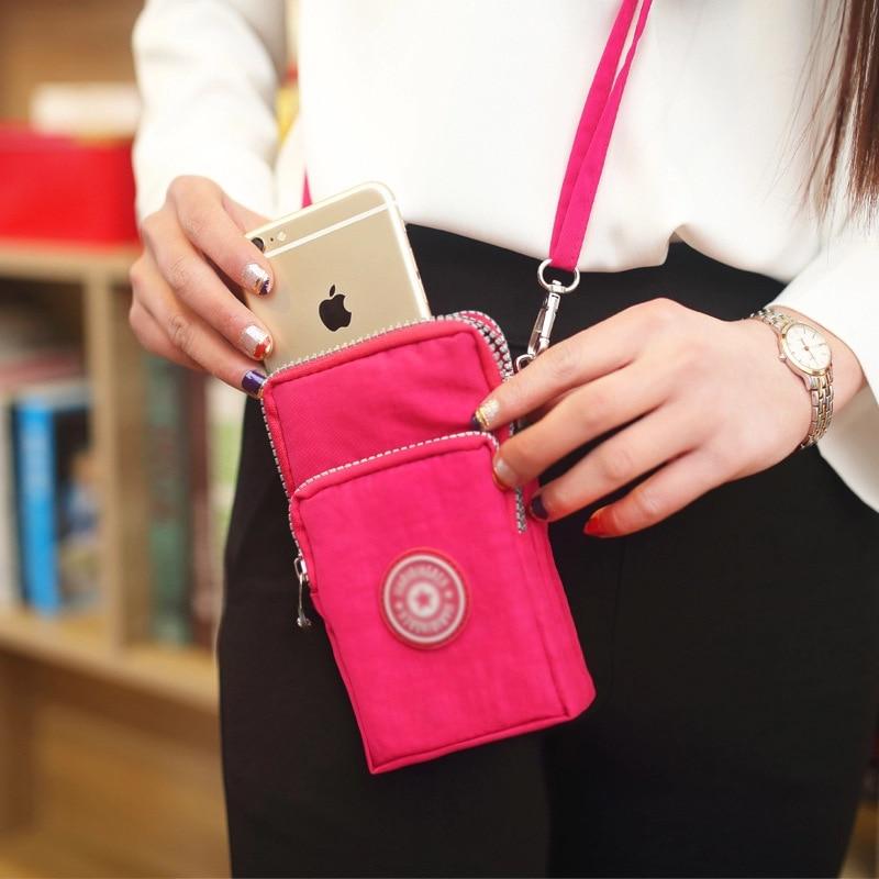 Korean Mobile Phone Bag Women's Messenger Fabric Art Cross Mobile Phone Bag Hang Neck Sports Arm Bag Vertical Wrist Zero Wallet