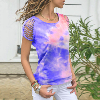 Hollow Out T Shirt Women Tie Dye Tops Tee For Women Summer Multicolor Short Sleeve 2020 Hot Sale Tie-dye Tee Shirts Female Tee frill trim self tie tee