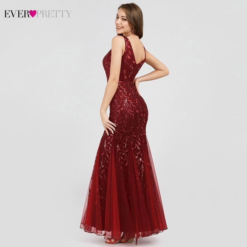 Burgundy Evening Dresses Ever Pretty EP07886 V-Neck Mermaid Sequined Formal Dresses Women Elegant Party Gowns Lange Jurk 19 9