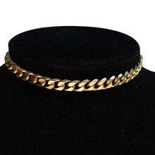 Collier Punk Miami cubain en acier inoxydable 35 + 5cm, collier ras du cou pour femmes, déclaration, Hip Hop, couleur or, collier ras du cou 2020