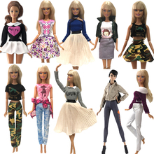 цена NK Handmade Outfit Mixed Style Dress Daily Casual Wear Blouse Fashion Pants Skirt Clothes For Barbie Doll Accessories Toy A3  JJ онлайн в 2017 году