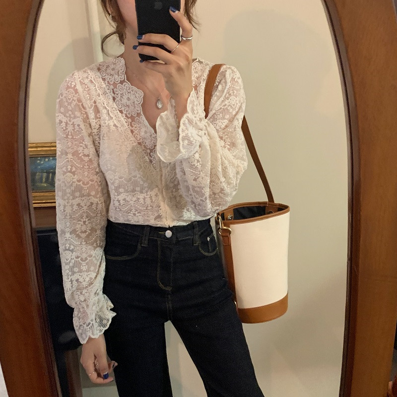 H7f0e0e43a3cc43e487d3af9eb73722aas - Spring / Autumn V-Neck Long Sleeves Floral Lace Blouse