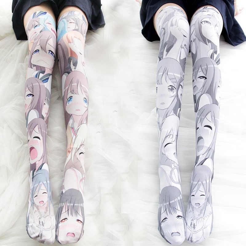 Чулки с принтом персонажей аниме Лолита высокие носки Cos Play JK носки женские бархатные носки выше колена носки до бедер японский стиль