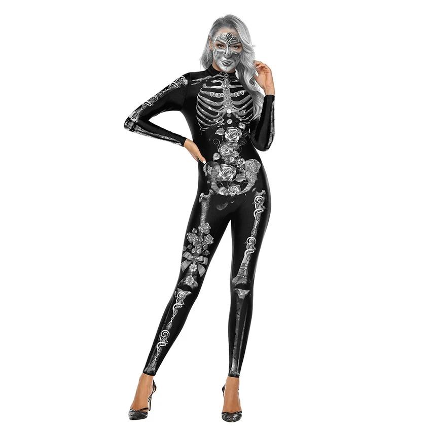 Skull Horror Costume Halloween Clothes Monster Ghost Scary Skeleton Costume Halloween Costumes For Women Demon Devil Costumes Scary Costumes Aliexpress