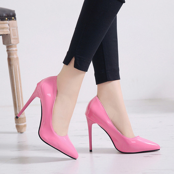 Plus Size 34-44 HOT Women Shoes Pointed Toe Pumps Patent Leather Dress High Heels Boat Shoes Wedding Shoes Zapatos Mujer 12