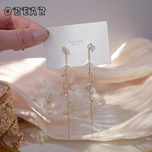 Obear 14k real ouro geométrico zircon longo borla brincos feminino temperamento elegante simples presente de jóias de casamento