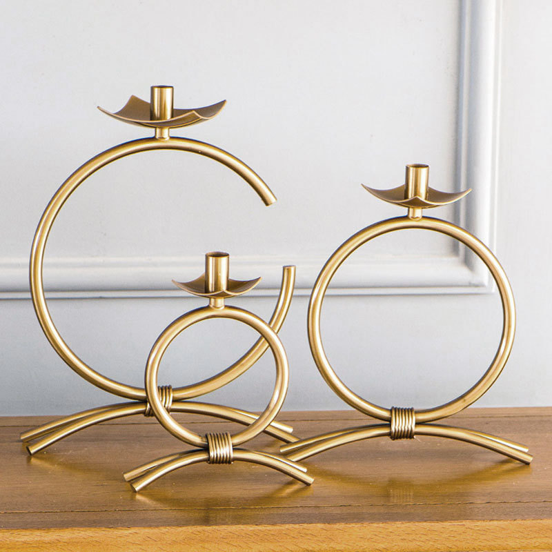 Large Brass Luxury Candlestick Nordic Gold Simple Romantic Candle Holder Creative Suporte Para Vela Metal Home Decoration MM60ZT