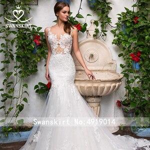 Image 3 - סקסי אפליקציות בת ים חתונת שמלה מתוקה אשליה תחרת משפט רכבת Swanskirt GI14 כלה שמלת נסיכת Vestido דה novia