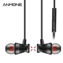 ANMONE ב אוזן אוזניות מתכת מגנטי אוזניות עם מיקרופון 3.5mm באוזן אפרכסת דיבורית נפח שליטה עבור טלפון נייד