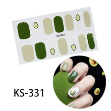 14Tips New Avocado Green Nail Art Stickers Fashion French Adhesive Full Cover Nail Wraps Manicure for Pregnant Woman and Kids(China)