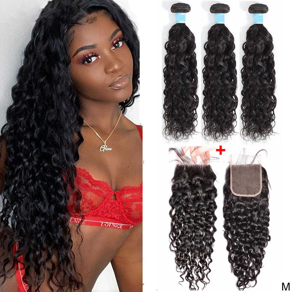 Water Wave Bundles with Closure 3 Bundles Human Hair Bundles with Closure Wet and Wavy Bundles with Closure Maxine Hair Non-Remy