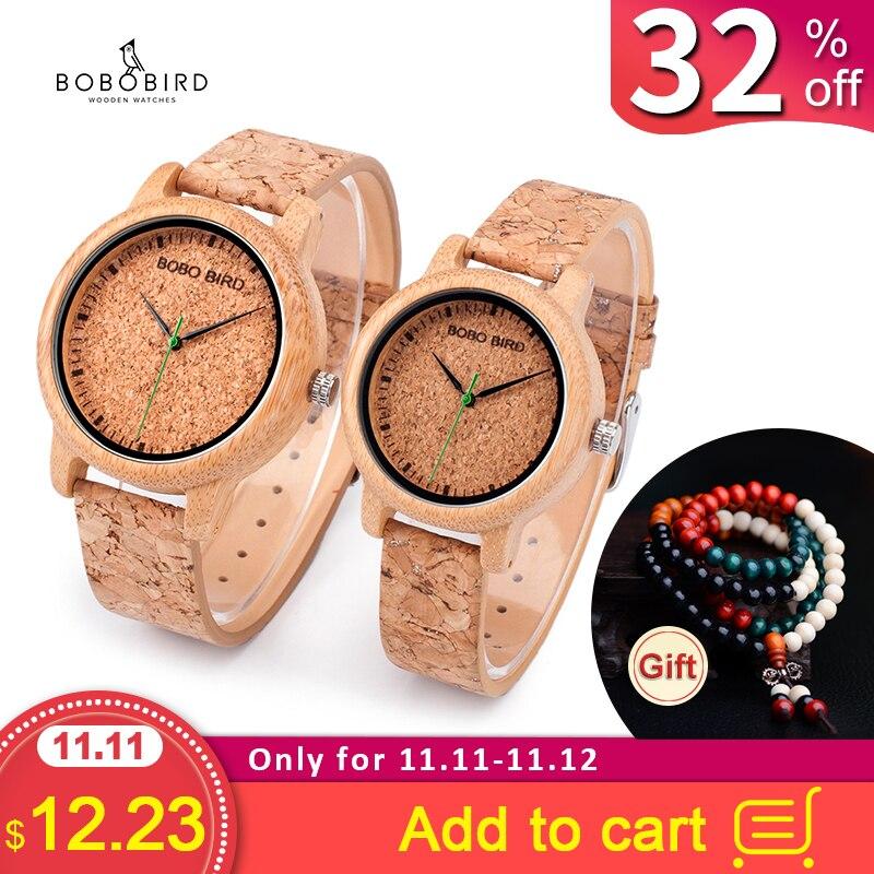 BOBO BIRD Lovers Watches Wooden Timepieces Handmade Cork Strap Bamboo Women Watch Luxury In Box Accept Logo Drop Shipping