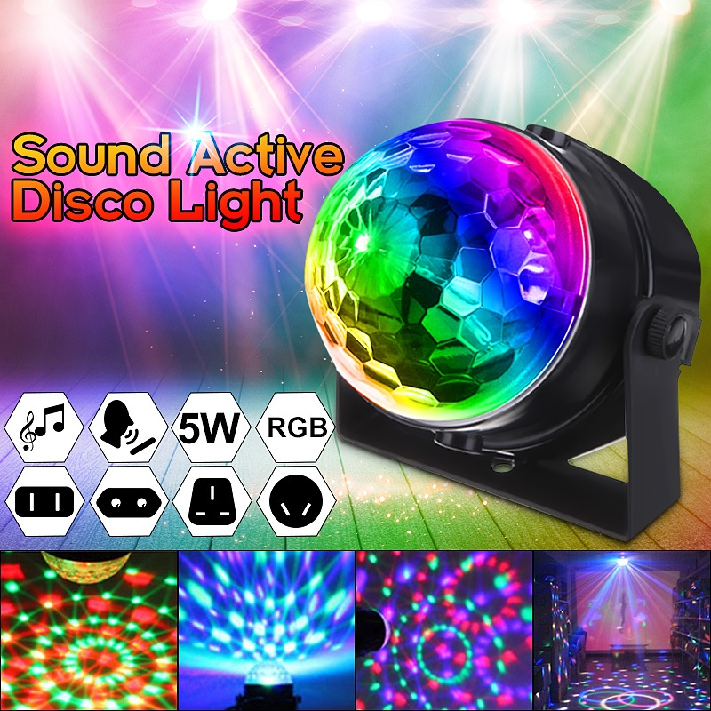 Mini Voice Control RGB LED Crystal Rotating Ball Stage Lighting Lamp Bulb Party Disco Club DJ Light Music Star Show 100-240V