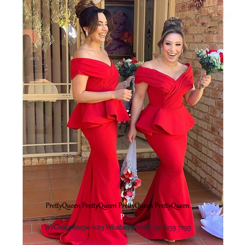 Red Off Shoulder Long Bridesmaid Dresses With Pepulm Mermaid Vestido Madrinha Wedding Guest Dress Party For Women