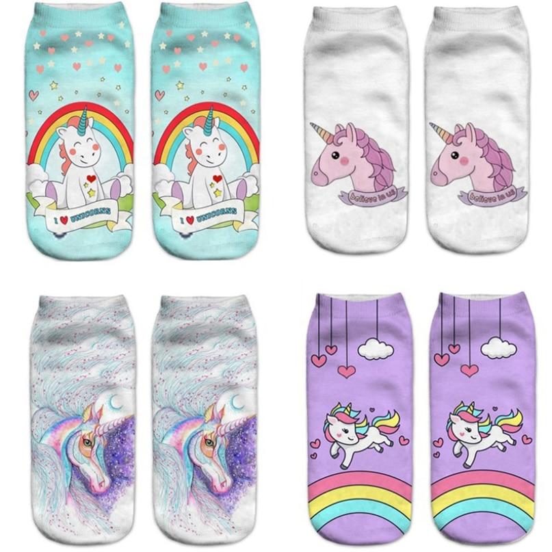 Calcetines divertidos para mujer Harajuku con bonitos unicornios, calcetines con estampado 3D para embarazadas, calcetines de maternidad para verano y otoño