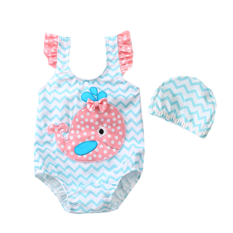KID'S Swimwear Female Baby Infant One-piece Children Kids Princess Swimwear Cartoon Whale Infants KID'S Swimwear