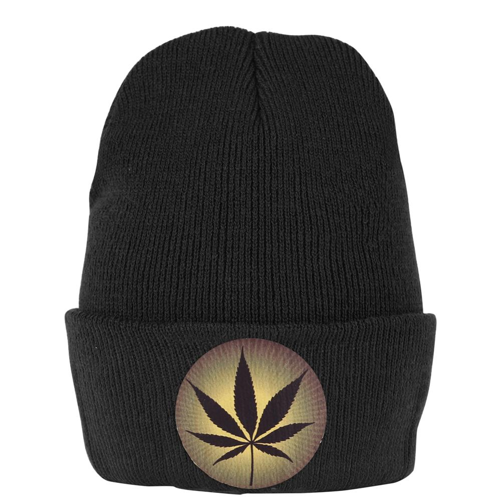Marijuana Logo Print Black Beanie Hat Bonnet Knitted Crochet Skullies Cap Short Winter Casual Caps Elastic Ski Warm Hats Women