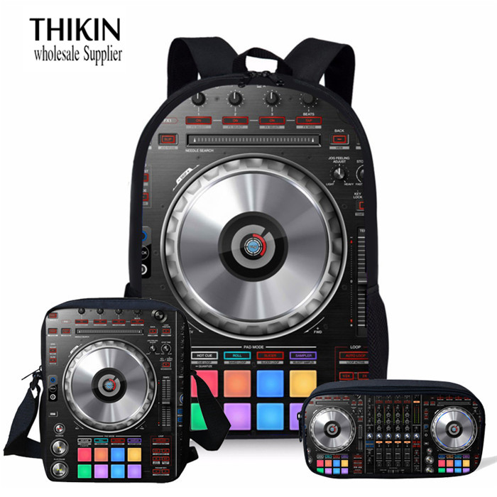 THIKIN Punk DJ Music Print 3 PCS/SET Girls School Backpacks Teenage Boys Girls Student School Bags Children Daily Bag Mochila