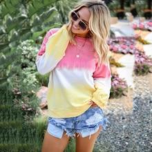 2019 Autumn & Winter Fashion Sexy Rainbow Gradient Print Long Sleeved Women Sweatshirt Round Neck Plus Size S-5XL New Tops