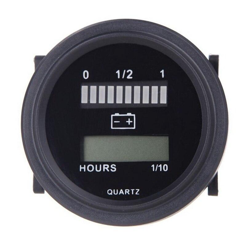 12V/24V/36V/48V/72V LED Digital Batterie Status Lade Anzeige mit Stunde Meter Gauge Schwarz