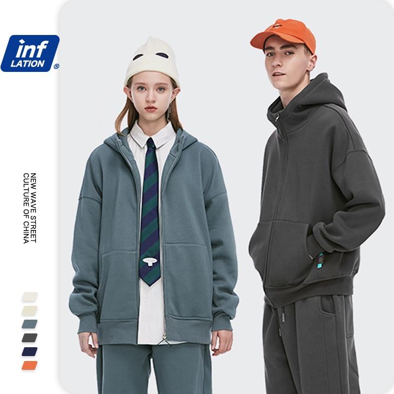 Инфляция Мужская толстовка пальто 2020 осень зима свободный сплошной цвет флисовые толстовки Женская теплая повседневная толстовка на молнии 2505W|Куртки|   | АлиЭкспресс