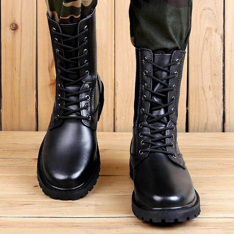 Unisex büyük boy 47 inek derisi deri Sneaker sonbahar erkekler yüksek Top kış sıcak su geçirmez yarım çizmeler açık çalışma çizmeler kadın ayakkabıları