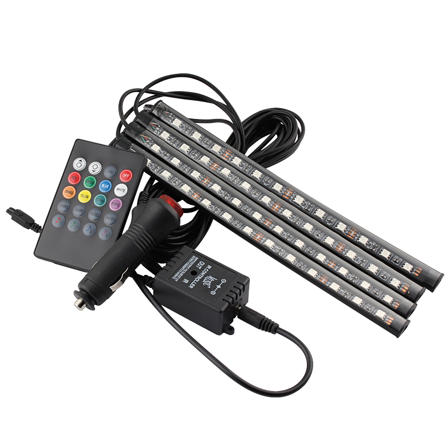 4Pcs Car Interior DC 12V Car RGB LED Strip Light Multicolor Music Remote Control LED Under Dash Lighting Auto Decorative Kit