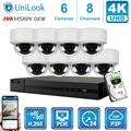 Hikvision OEM 4K 8CH NVR 8MP POE IP Камера 4/6/8 шт. комплект открытый системы безопасности ONVIF H.265 CCTV NVR Kit с 1/2/4 ТБ HDD