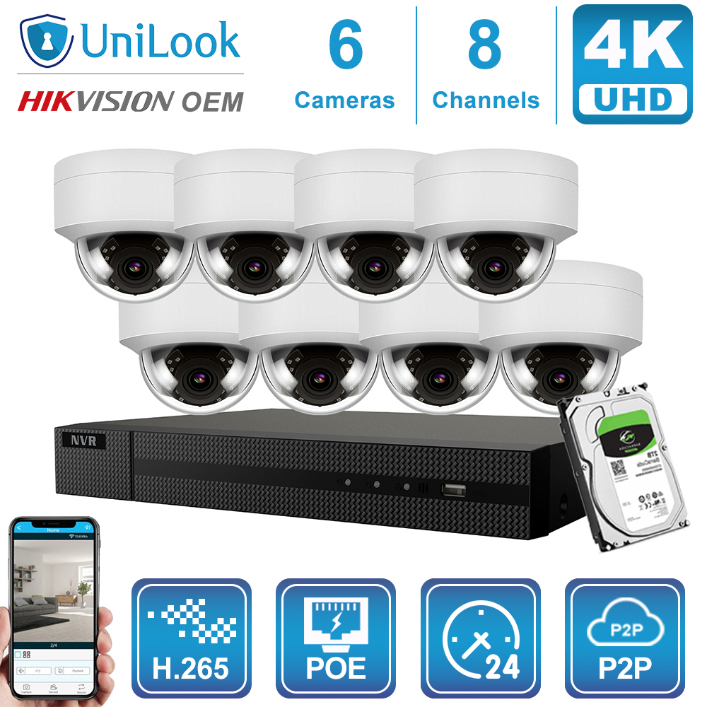 Hikvision OEM 4K 8CH NVR 8MP POE IP Camera 4/6/8PCS Kit Outdoor Security Systems ONVIF H.265 CCTV NVR Kit With 1/2/4TB HDD