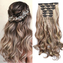 Wavy Curly Synthetic 16 Clips In Hair extension 24 Inch Long Body wave Fake False Hairpiece Clip In Hair Extension 6pcs/set