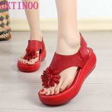 GKTINOO Genuine Leather Sandals Shoes Women Summer Flip Flop
