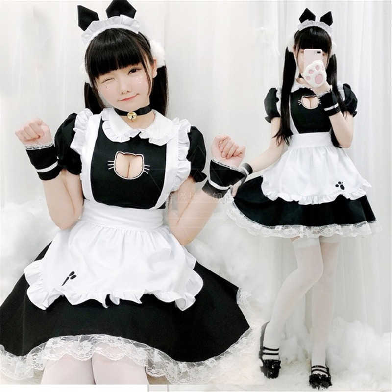 Girls Maid Uniform Cafe Princess Dress Suit Outfit Cosplay Costume Complete