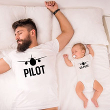 Funny Pilot/Co-pilot Family Matching Clothes Father and Son Matching Shirts Dad and Son Family Look Tshirts Baby Clothes Gift