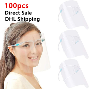 DHL 100 Clear Adult Protective Face Shield Cover Transparent Full Facial Mask With Glass Anti Spitting Plastic Mouth Visor outdoor protective transparent plastic mask with elastic strap
