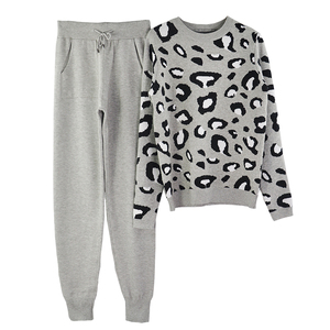 Image 2 - MVGIRLRU Autumn and Winter Women Suits Leopard  Knitted O Collor Pullover Sweater and Pants Two Piece Set
