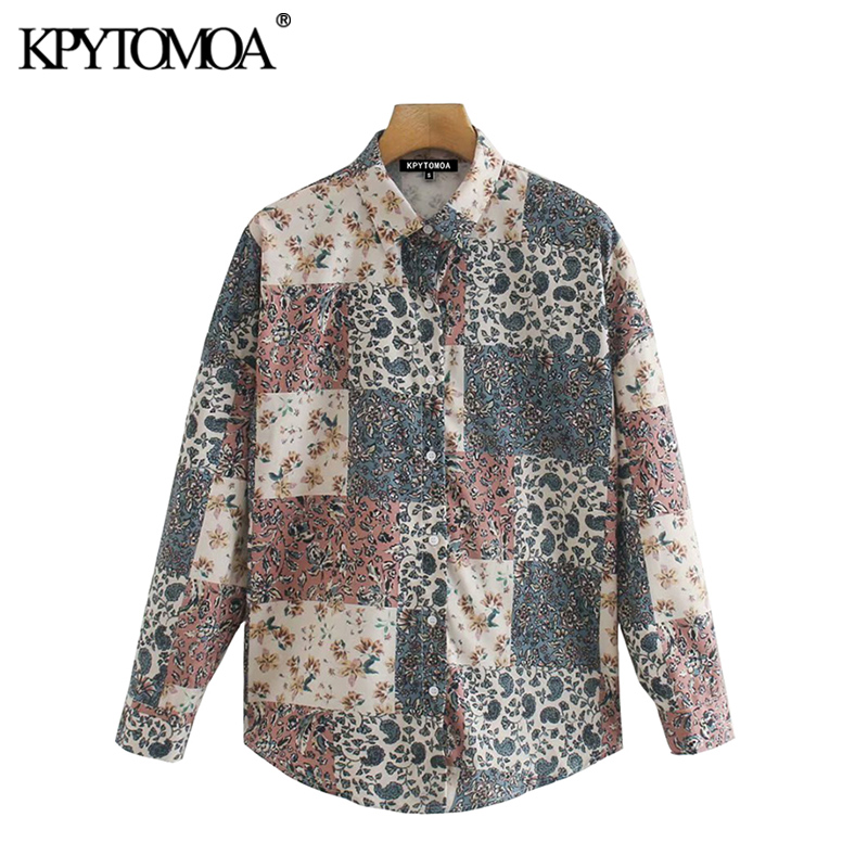 KPYTOMOA Women 2020 Fashion Floral Print Loose Blouses Vintage Long Sleeve Button-up Female Shirts Chic Tops