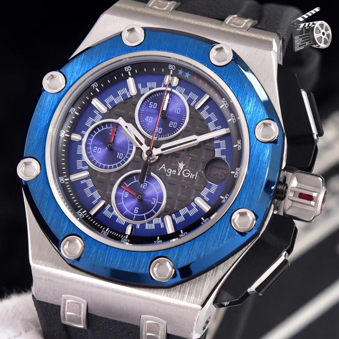 Luxury Brand Men Chronograph Sapphire Oaks Silver Black Blue Green Stopwatch Rubber Stainless Steel Watch Royal Limited AAA+