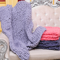 Large Size Soft Hand Knitted Blanket For Winter Bed Sofa Plane Plaid Thick Yarn Knitting Super Warm Blanket 16 Colors