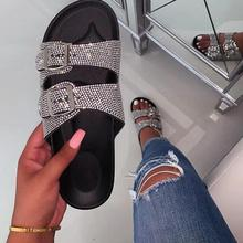New Bling Women Double-layer Rhinestone Outdoor Beach Shoes Slippers Summer Sandals Crystal Buckles Students