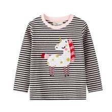 Camiseta con apliques de unicornio para niñas, ropa de algodón para bebés, camisetas de manga larga a rayas para niños pequeños