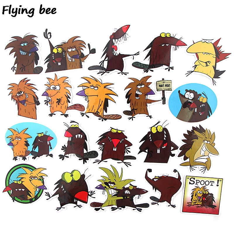 20 Flyingbee 20 pcs The Angry Beaver Sticker funny cute Stickers for DIY Luggage Laptop Skateboard Car Bicycle Stickers X0350 (3)