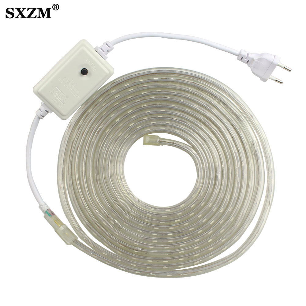 RGB 5050 Led Strip Light AC220V 60 Leds/Meter With EU Plug Waterproof Outdoor Led Lighting /White/Warm White/Blue