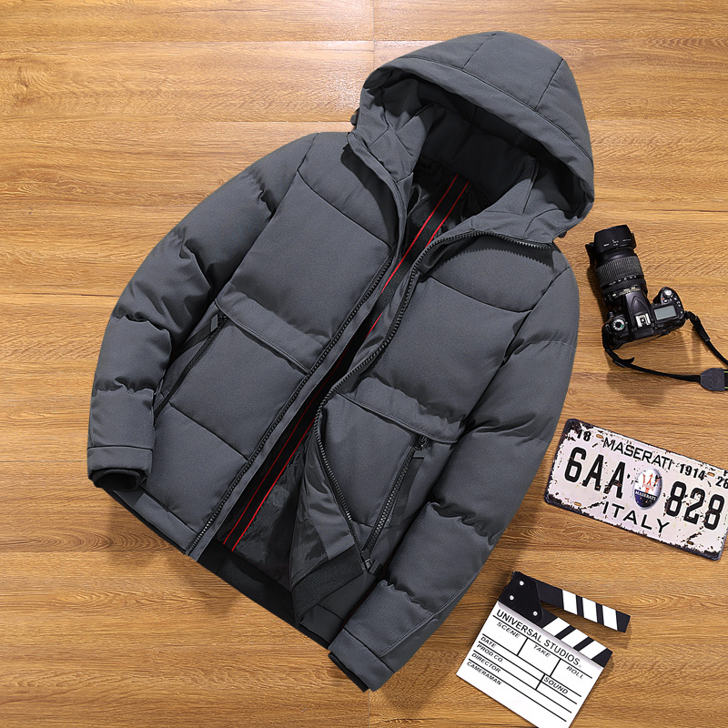 Brand Hooded   Parka   Mens Casual Winter Jacket Mens Warm Coat Male Solid outwear Stand Collar Zipper Thick Coat Men Down   Parka   88