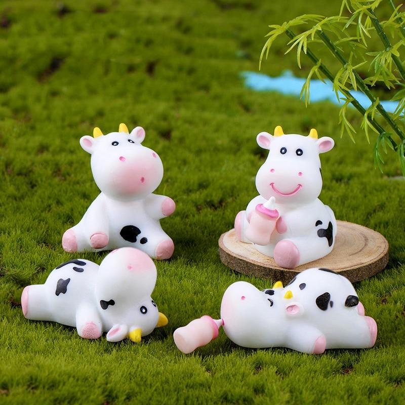 4 pçs bonito da vaca do bebê estátua modelo animal estatueta casa ornamento decoração artesanato em miniatura jardim fada decoração diy acessórios