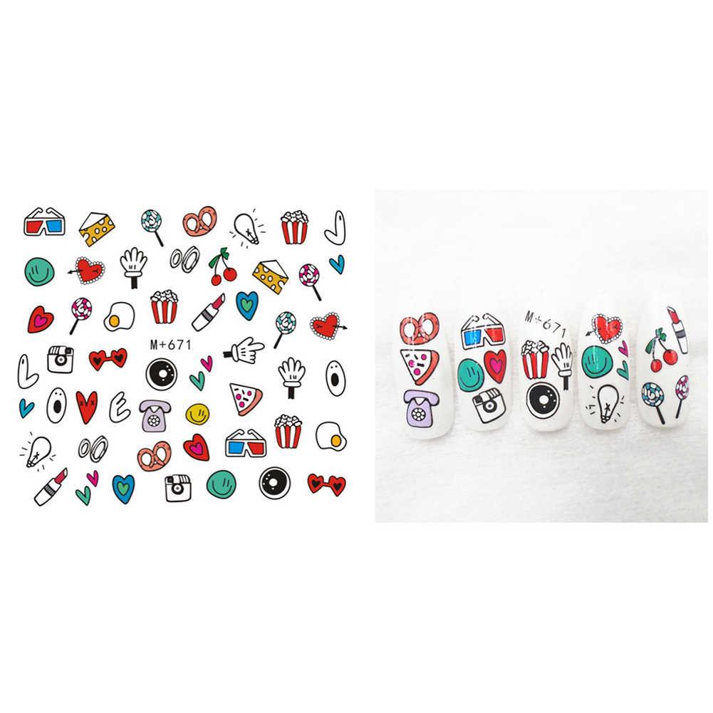 Colorful Cartoon Animal Fruit Tree Nail Sticker Water Transfer Art Decoration  Nail Decor  Multi-shape Design  Easy to Apply