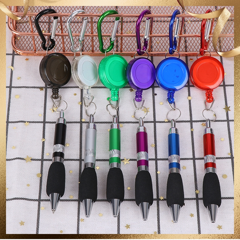 Outdoor Heavy Duty Retractable Pen Pull Holder Reel Carpenter Pencils Anti Lost Rope Key Ring Chain Belt Clip Tools