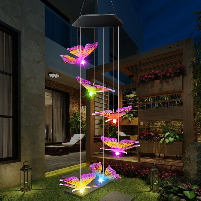 LED Solar Wind Chime Luz Estilo Borboleta Guirlanda Pendurado Luzes Do Feriado Do Natal Do Jardim Solar Ao Ar Livre À Prova D' Água Decoração Da Lâmpada