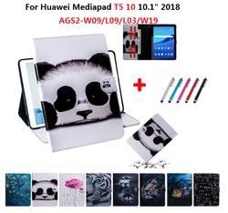Skórzany pokrowiec do Huawei MediaPad T5 10 Tablet Funda stojak pokrywa dla Huawei Media Pad T5 10 10.1 odwróć magnetyczny portfel pokrywa + długopis